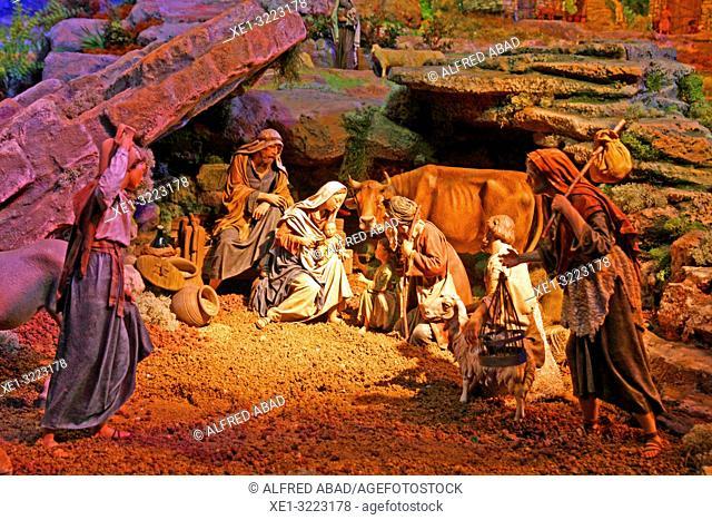Classic Nativity scene, Museu Frederic Marès, 2018, Barcelona, Catalonia, Spain