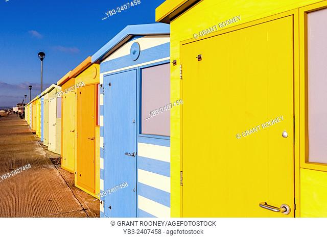 Colourful Beach Huts, Seaford, Sussex, UK