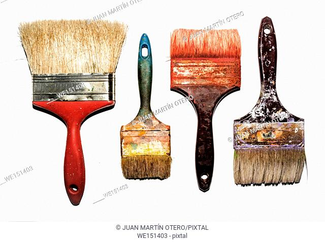 set of used brushes with bits of dried paint on white background