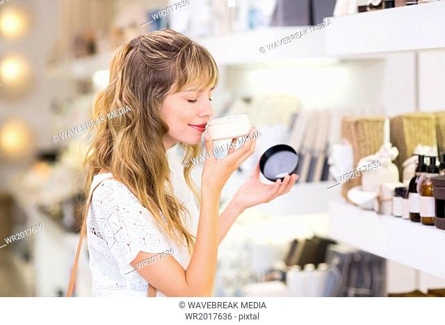 Beautiful customer smelling product