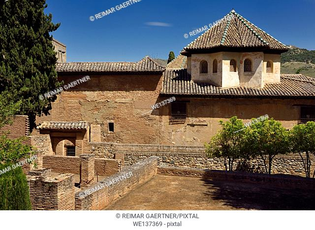 Exterior of the Hall of the Abencerrages in the Nasrid Palaces of Alhambra Granada Spain