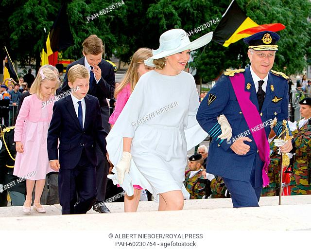 (L-R) Princess Eleonore, Prince Emmanuel, Prince Gabriel, Queen Mathilde of Belgium and King Philippe of Belgium attend the Te Deum mass at the Cathedral of St