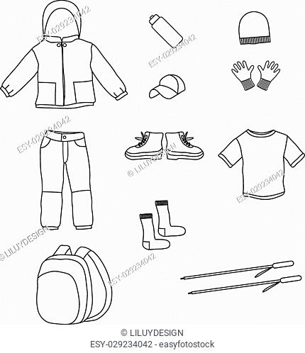 Hand drawn icons about hiking, camping, tourism and outdoor activity