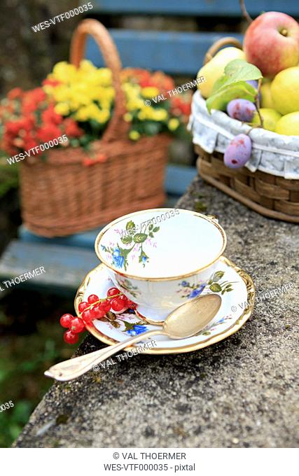 Germany, Bavaria, baskets with fresh fruits and flowers and a tea cup