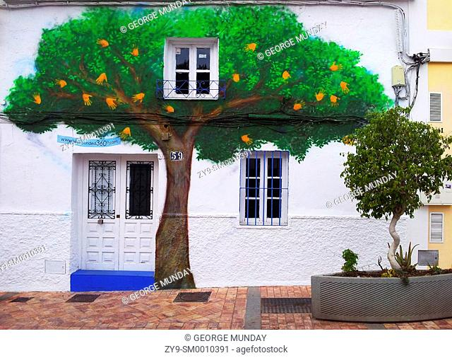 Street Art Mural of an Orange Tree, Carabeo, Nerja, Malaga, Spain