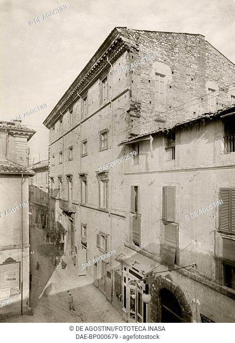 View of Palazzo Spada from Via Roma in Terni, Umbria, Italy, photograph from Istituto Italiano d'Arti Grafiche, Bergamo, 1908-1909