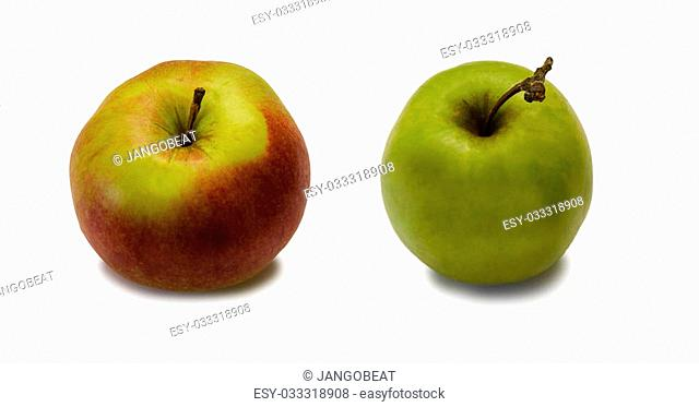 Two apples on the white isolated background