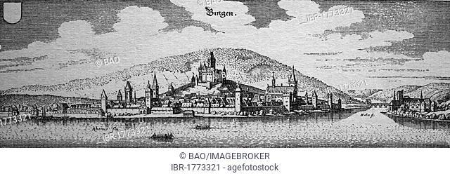 Bingen, Germany, in the 17th century, historical steel engraving