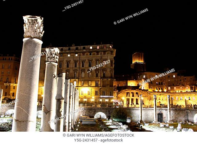 Light show at the Forum of Trajan archaeological site in Rome Italy