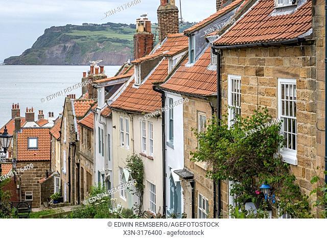 Terra-cotta Residential Rooftops, Robin Hood's Bay, Yorkshire, UK