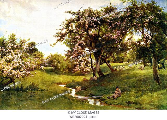 This painting by Alfred Parsons, an English artist, illustrator, engraver, and garden designer who died in 1920 is titled When Nature Painted All Things Gay