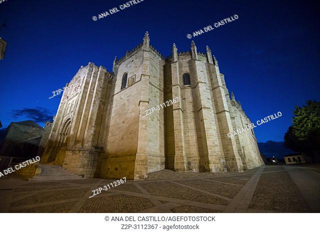Twilight in Zamora city Castile and Leon Spain . El Salvador cathedral