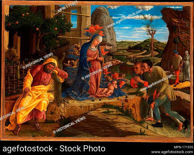 The Adoration of the Shepherds. Artist: Andrea Mantegna (Italian, Isola di Carturo 1430/31-1506 Mantua); Date: shortly after 1450; Medium: Tempera on canvas