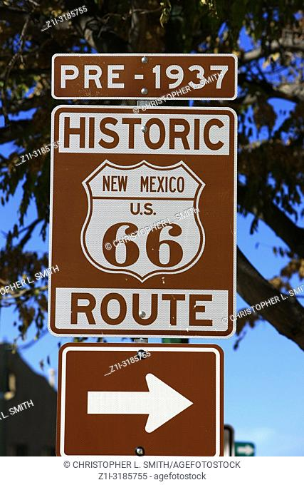 Pre-1937 historic route 66 sign in Santa Fe, New Mexico, USA