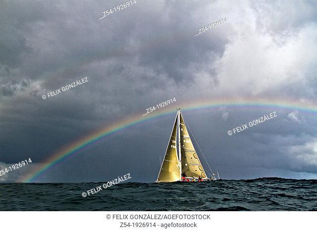 Rainbow at sea and Sail boat at Bay of Biscay, Spain