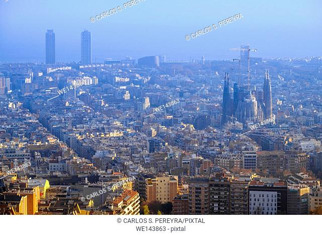 Turo de la Rovira. One of the best point of view of Barcelona, Catalonia, Spain