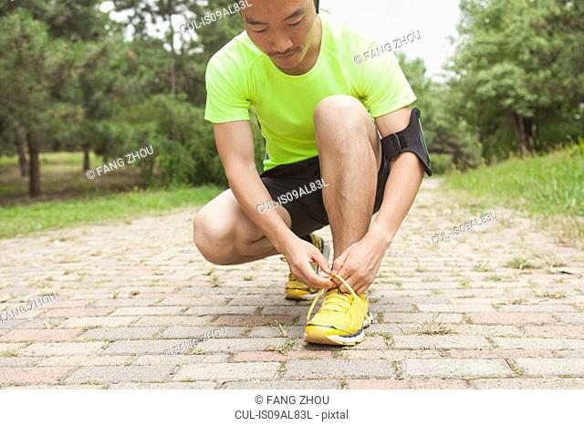 Young male runner tying trainer laces in park