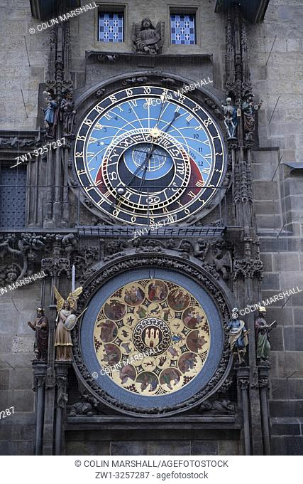 Astronomical Clock (Prague Orloj), Old Town Hall, Old Town Square, Prague, Czech Republic