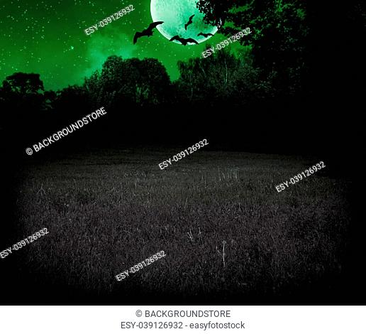 Scary Meadow at Night Halloween Green Background
