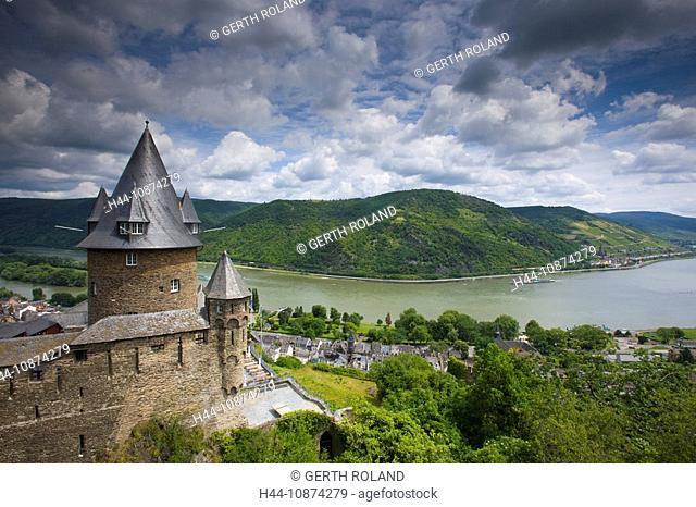 Bacharach castle, Strahleck, Germany, Rhineland-Palatinate, town, city, castle, river, flow, Rhine, clouds, Rhine ship