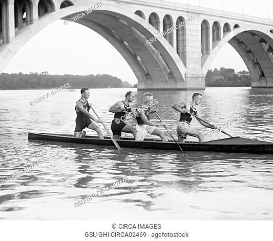 Potomac Boat Club Canoe Crew, Washington DC, USA, National Photo Company, June 1925