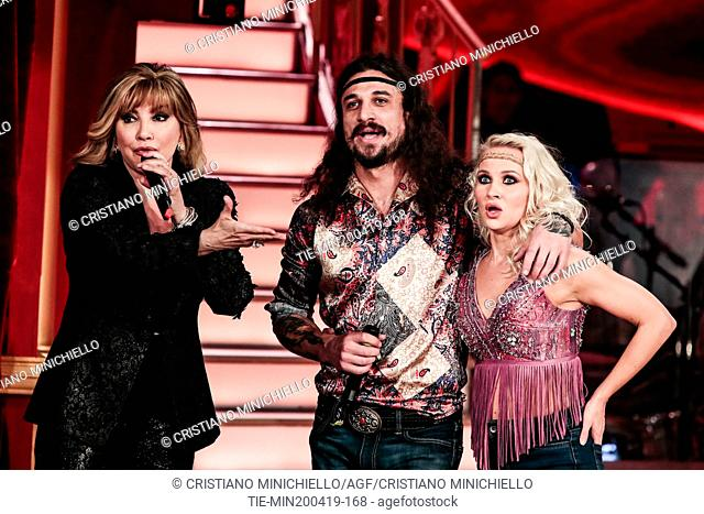 Milly Carlucci, Dani Osvaldo at the tv show Ballando con le stelle (Dancing with the stars) Rome, ITALY-20-04-2019