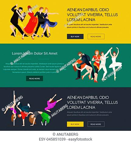 Vector illustration of couple dancing modern dance, Partners dance bachata, Dancing style design concept set, traditional dance flat icon isolated vector...