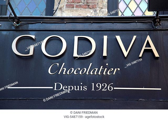 Sign above the Godiva chocolatier shop in Brussels, Bruxelles, Belgium, Europe. - BRUSSELS, BELGIUM, 14/07/2014