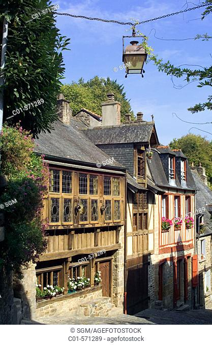 Half-timbered houses, rue du Petit Fort in the old town of Dinan. Britanny. France