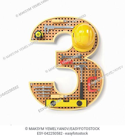 Number 3 three. Alphabet from the tools on the metal pegboard isolated on white. 3d illustration