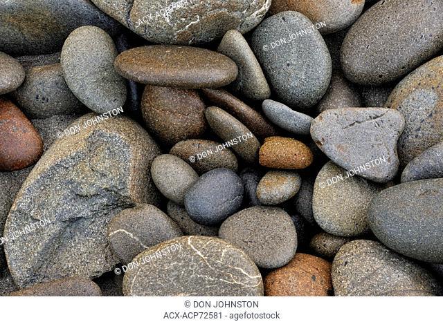 Polished beach stones, Olympic National Park, Washington, USA