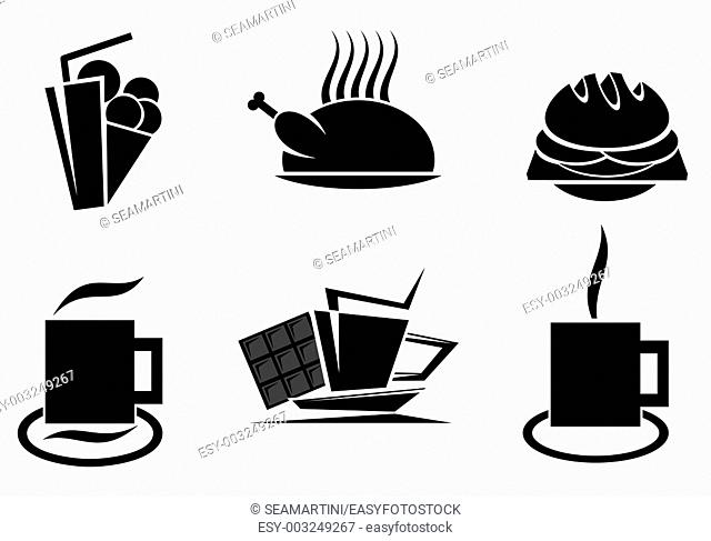 Fast food symbols for design isolated on white