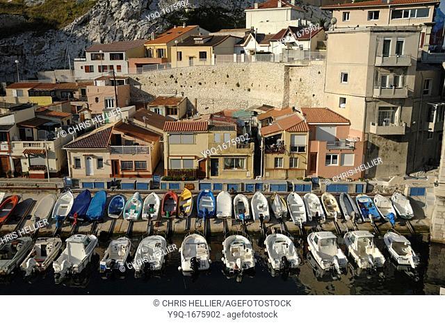 Aerial View of the Vallon des Auffes Port Marseille of Marseilles Bouches-du-Rhône Provence France