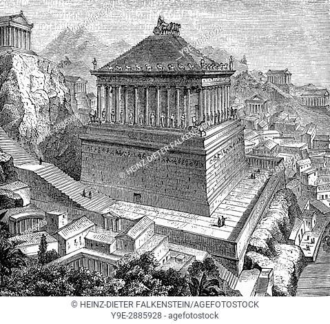 The Mausoleum at Halicarnassus or Tomb of Mausolus, Halicarnassus, present Bodrum, Turkey