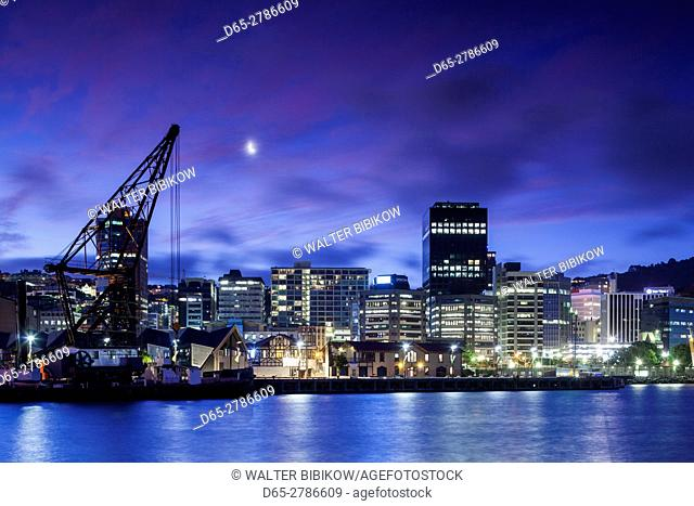 New Zealand, North Island, Wellington, skyline from the harbor, dusk