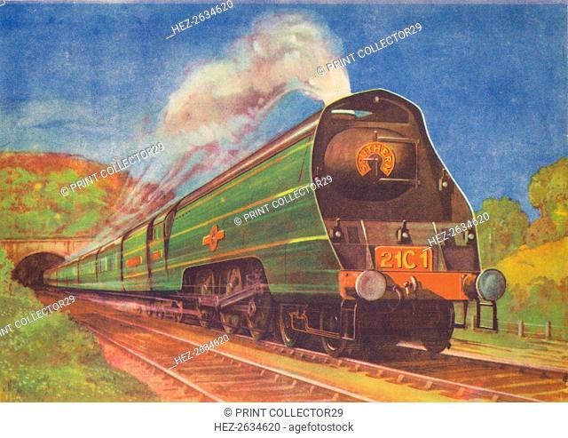 'New Streamlined Express, Merchant Navy, S.R., leaving Honiton Tunnel', 1940. Artist: Unknown