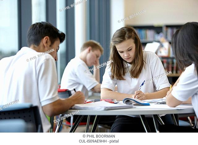 Group of teenagers working in school class
