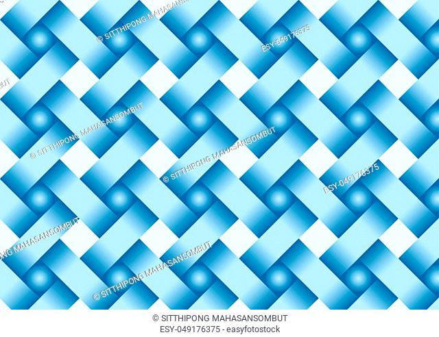 Blue weave pattern on pastel color. 3D ribbon texture style