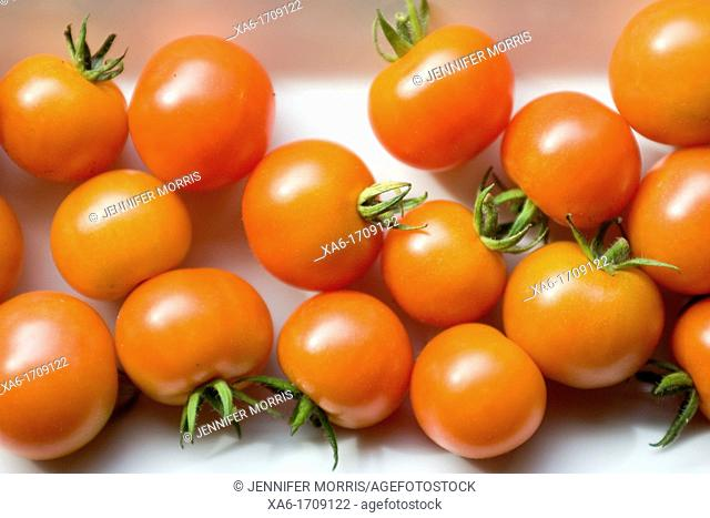 Cherry tomatoes are ripening on a white plate Close-up