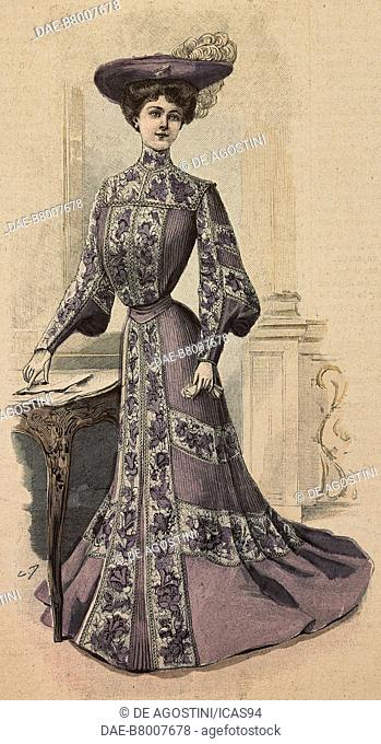 Woman wearing a visiting, concert or theatre dress, in Drap with embroidery and a felt hat with feather, creation by Mademoiselle Louise Piret