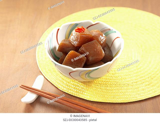 Konjac simmered in spicy soy sauce