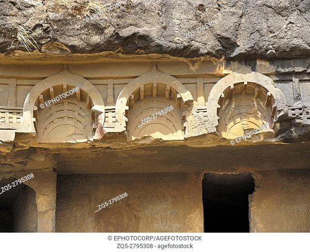 Bhaja caves, Entrance carvings. These Buddhist caves date back to the 1st and 2nd century BC. Cave No. 12. One of the finest caves in Maharashtra, India