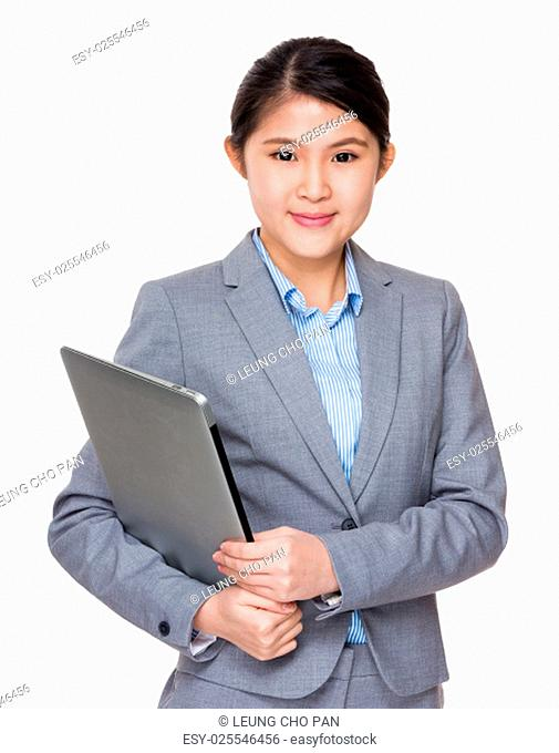 Asian businesswoman hold with laptop computer