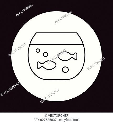 Goldfish bowl line icon