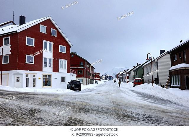 traditional norwegian street in Honningsvag finnmark norway europe