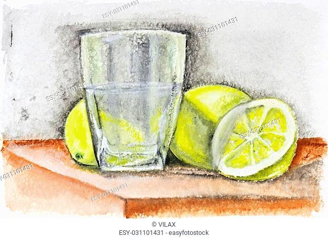 Yellow lemons and glass of lemonade dark concept still life - handmade acrylic painting illustration on a white rough surface paper art background