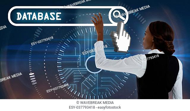 Woman touching database search bar interface
