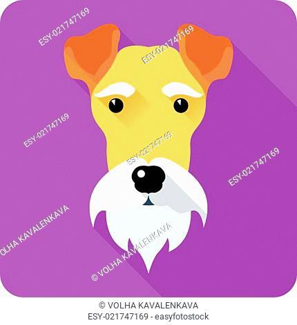 Fox Terrier dog icon flat design