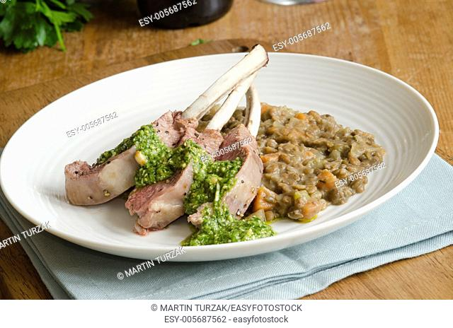 Rack of lamb with lentils and Jack by the hedge sauce