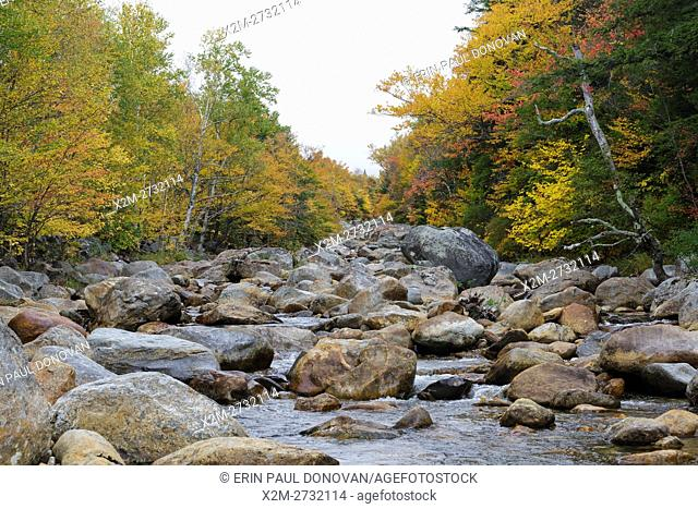 Ellis River in Jackson, New Hampshire during the autumn months
